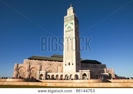 CASABLANCA, MOROCCO - MAR 8 2015 : Visitors converge on the beautiful Hassan II mosque.