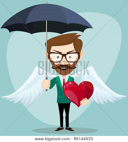 Angel Man with an umbrella, Wings and Heart, vector illustration