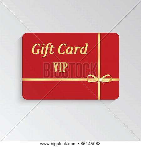 Gold Vip Cards With Shiny Letters And Ribbon
