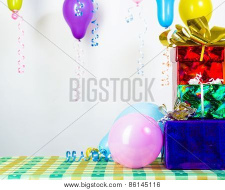 Balloons And Gifts. Background Or Card