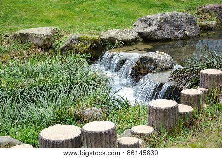 Small Waterfall In Chinese Garden