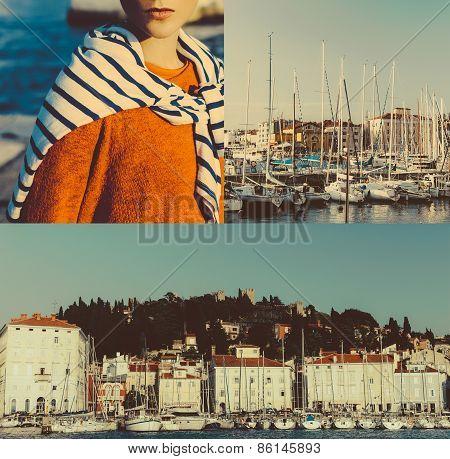Collage. Stylish Girl. Summer Vacation. Travel. Marine Style