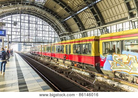 People Travel At Alexanderplatz Subway Station In Berlin