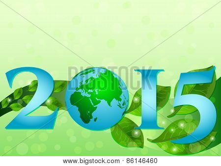 Postcard On April 22 - Earth Day. 2015 With Globe And Leaves