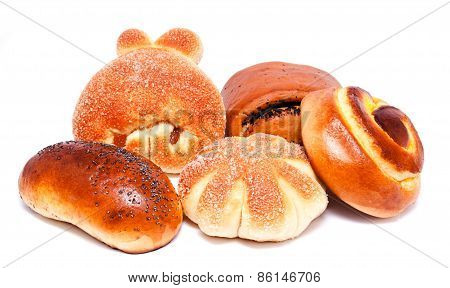 Fresh Sweet Buns And Rolls With Poppy And Raisin Isolated