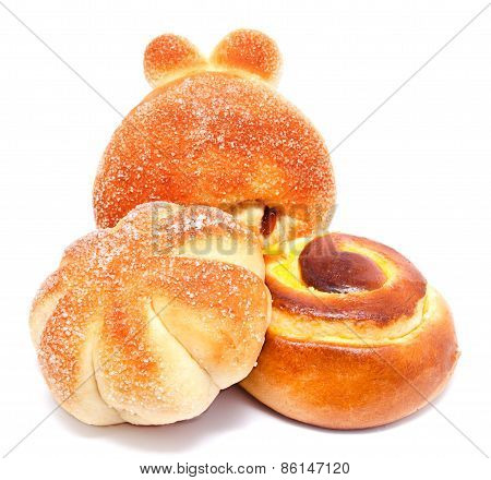Fresh Sweet Buns And Rolls With Cream And Raisin Isolated