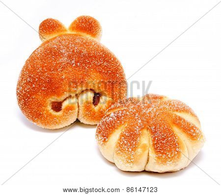 Sweet Rolls Buns With Raisin Isolated On A White