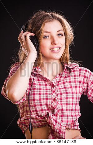 Woman in checkered shirt