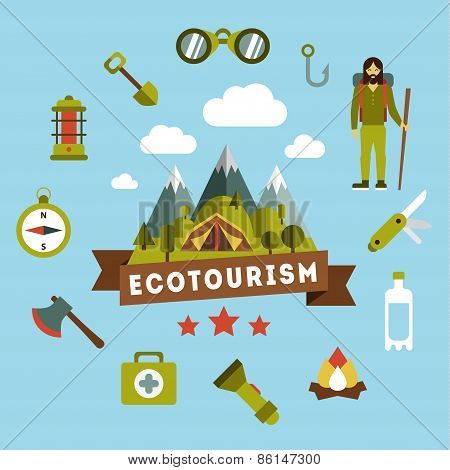 Vector landscape depicting a campsite. picnic around the tent , snow-capped mountains