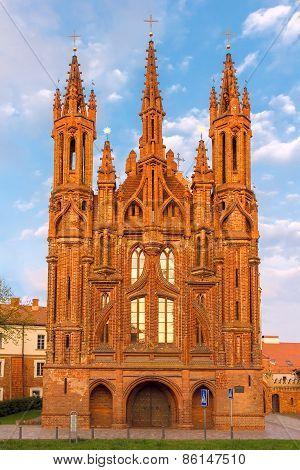 Facade of Saint Anne's church at  sundown light in Vilnius, Lithuania.