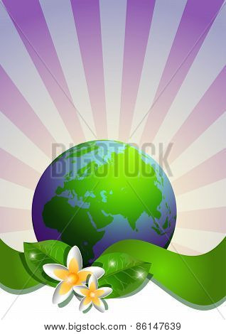 Postcard On April 22 - Earth Day. Globe With Green Ribbon And Narcissus