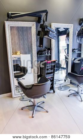 Seat inside of modern hair and beauty salon