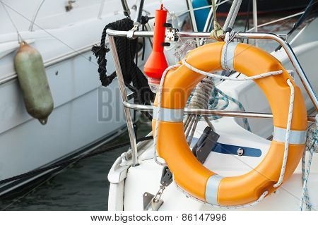 Modern Yacht Safety Equipment, Orange Lifebuoy