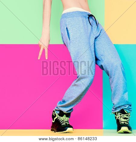 Dancer's Feet On Bright Background. Dancing, Active, Sport, Fashion
