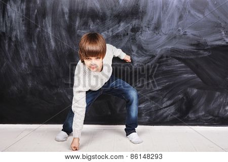 Boy In Fighting Stance
