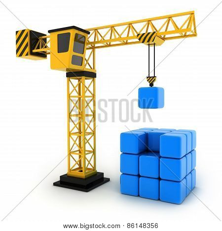 Tower Crane And Abstract Cube