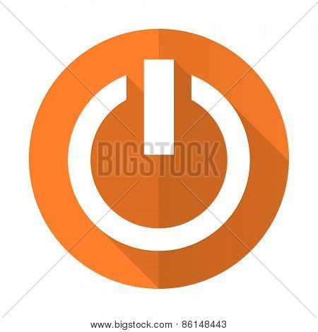 power orange flat icon on off sign