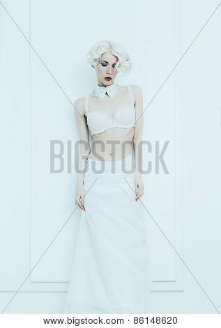 Sensual Bride In White Interior. Underwear. Luxury Style. Wedding Style