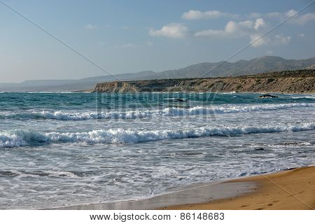 Sea Waves In Bay On Coast Of Cyprus