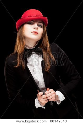 Beautiful woman in red hat.