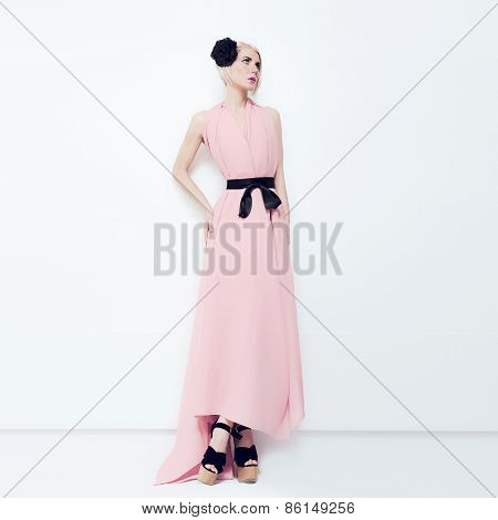 Sensual Fashion Blond Bride In White Interior. Latest Trends Wedding Style