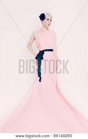Portrait Of Sensual Bride Lady On White Background. Trend Fashion Wedding Dress