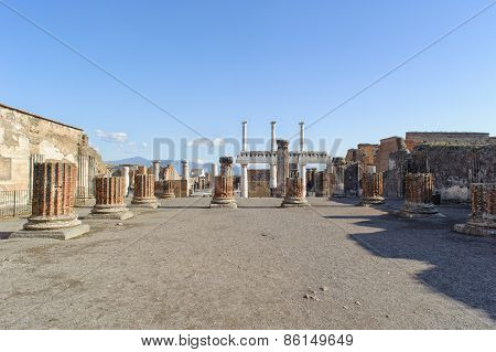 Ruined Site Of Basilica In Pompeii.