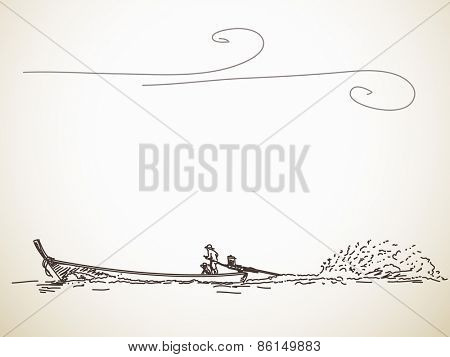 Sketch of Long tail boat, Hand drawn illustration
