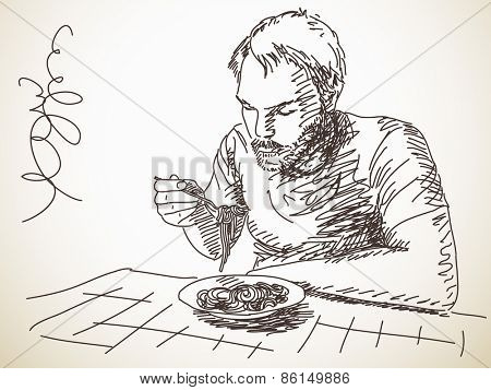 Sketch of man eating pasta, Hand drawn Vector illustration