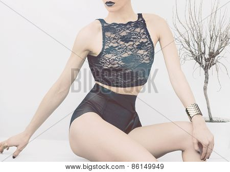 Sensual Beautiful Model In Lingerie. Lace, Black Color, Feelings, Luxury Style