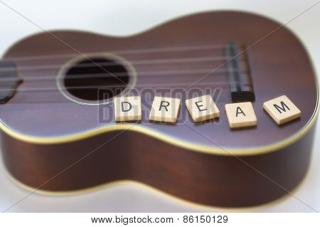 Vintage Ukulele with Dream Letter Tiles