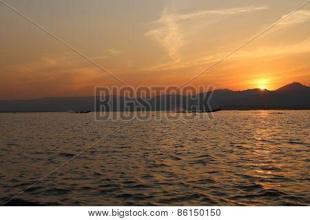 Landscape sunset, Inle Lake