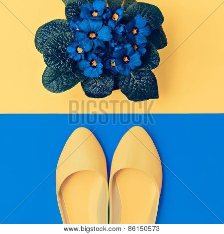 Yellow Shoes And Blue Flowers. Romantic Lady Style
