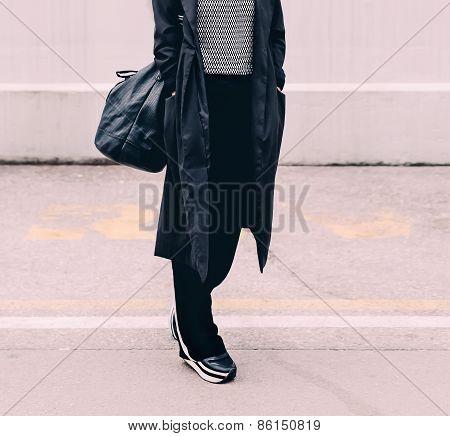 Model On The Street. Stylish Urban Lok. Fashionable Sneakers