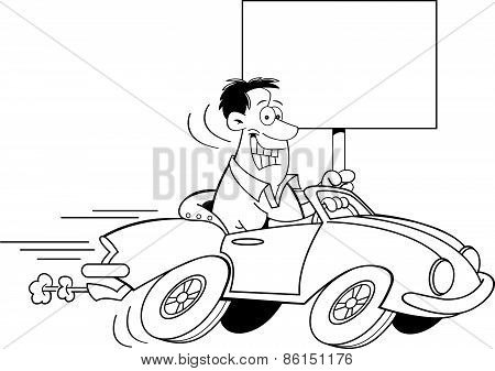 Cartoon man driving a car and holding a sign.