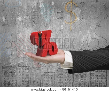 Hand Showing Businessman Hanging On Percentage Sign With Business Doodles