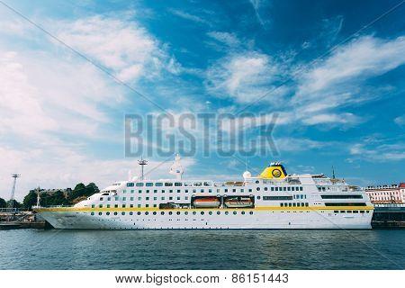 Modern passenger ferry boat Viking Line stays in the seaport.