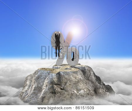 Businessman Hanging On Cracked Percentage Sign With Dollar Peak Sunlight