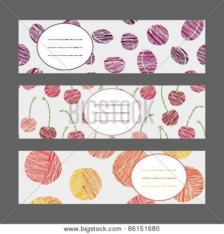Set of Horizontal Fruit Banners. Healthy lifestyle Cards Series. Illustration.