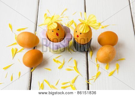 Dyed Natural Way With Turmeric For Mustard - Yellow Color Easter Eggs Decorated As Chicken Couple