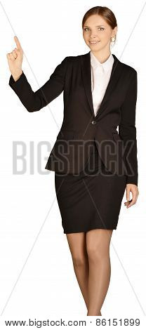 Young girl in a suit shows forefinger up