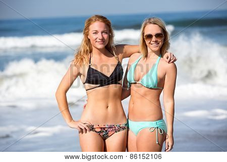 Two girlfriends enjoying a day at the beach