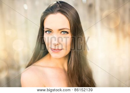 Beautiful young woman with brown hair