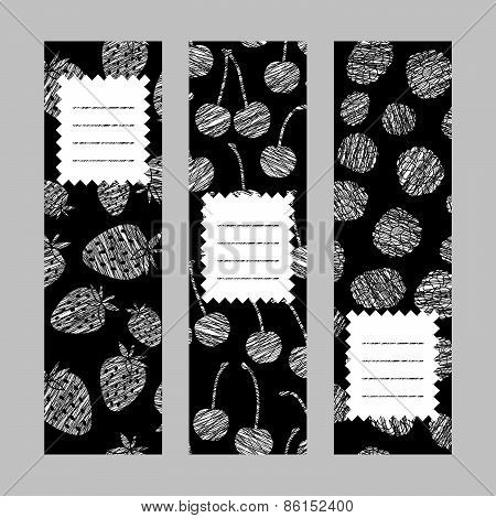 Healthy lifestyle flyers series. Set of Vertical Berry Banners. Illustration.