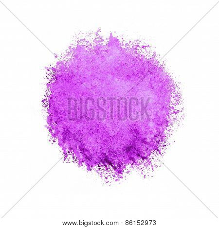 Colorful Watercolor Circle, Pink Drop On White Background.