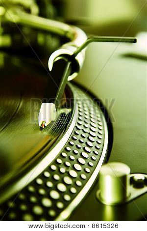 .vinyl Record Player Spinning The Disc