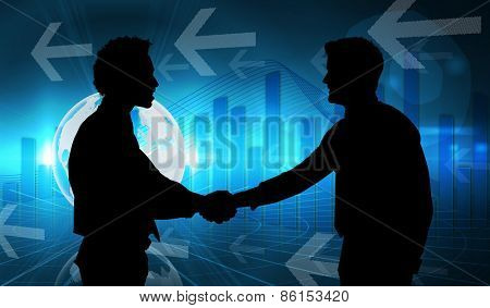 Smiling young businessmen shaking hands in office against global business graphic in blue
