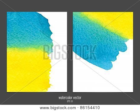 Vector background with watercolor yellow and blue.