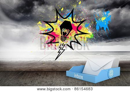 Blue inbox against light bulb on splashes over stormy background