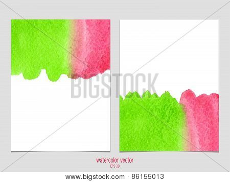 Vector background with watercolor green and red.